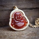 Mens Hip Hop Red Agate Buddha Pendant Necklace