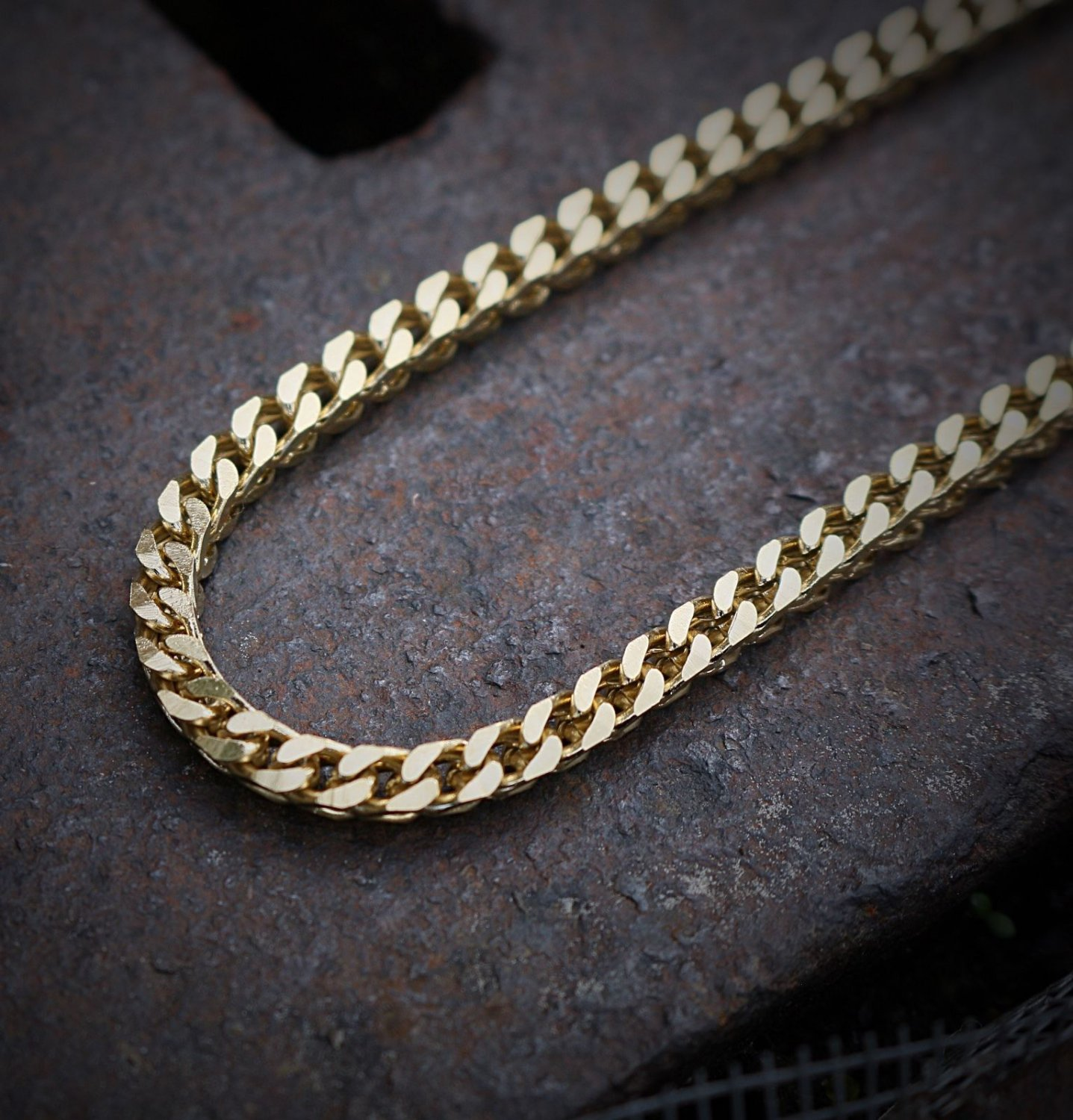 "Mens Gold Franco Chain Necklace 30"" Stainless Steel"