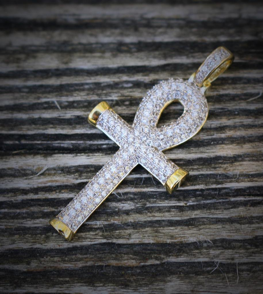 Mini Gold Egyptian Key Of Life Ankh Cross Pendant Charm