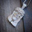 Mini Hip Hop Silver Jesus Piece Pendant Necklace Set