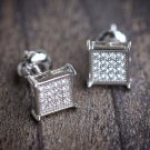 MENS MICRO PAVE STERLING SILVER SQUARE EARRINGS SCREW BACK POST