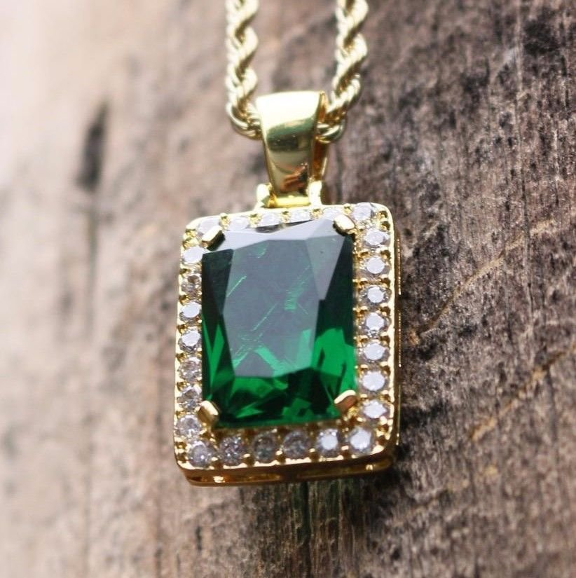 Mini Square Emerald Green Gem Stone Pendant Charm Ruby Necklace