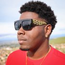 Mens Hip Hop Gold Cuban Link Dark Shade Sun Glasses