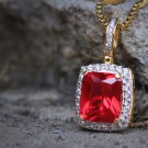 Mens Mini Square Ruby Red Pendant Piece And Chain Necklace