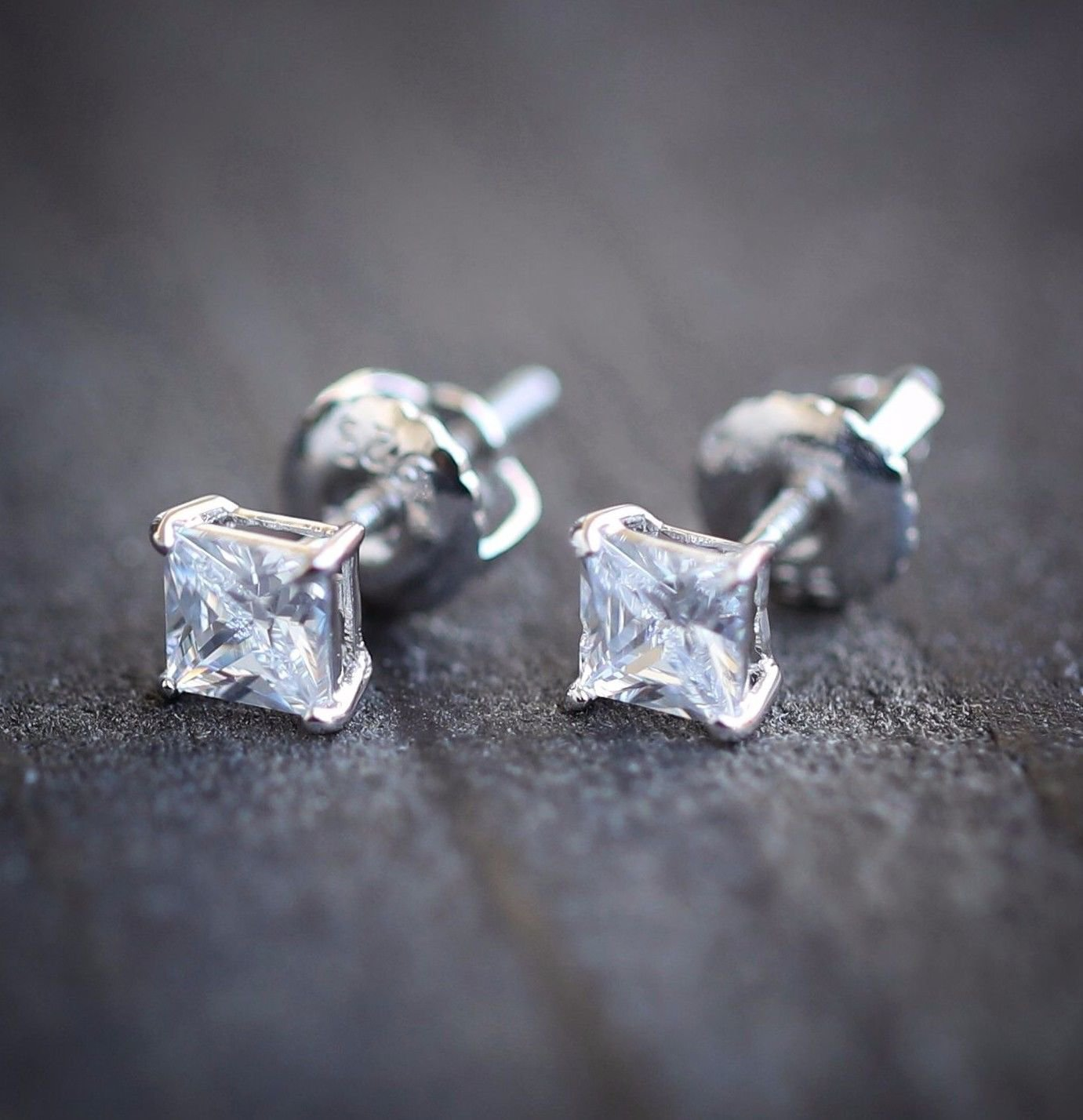 White Gold Small Princess Cut Screw Back Mens Stud Earrings