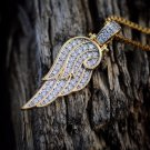 Lab Diamond 18k Gold Angel Wing Pendant Necklace
