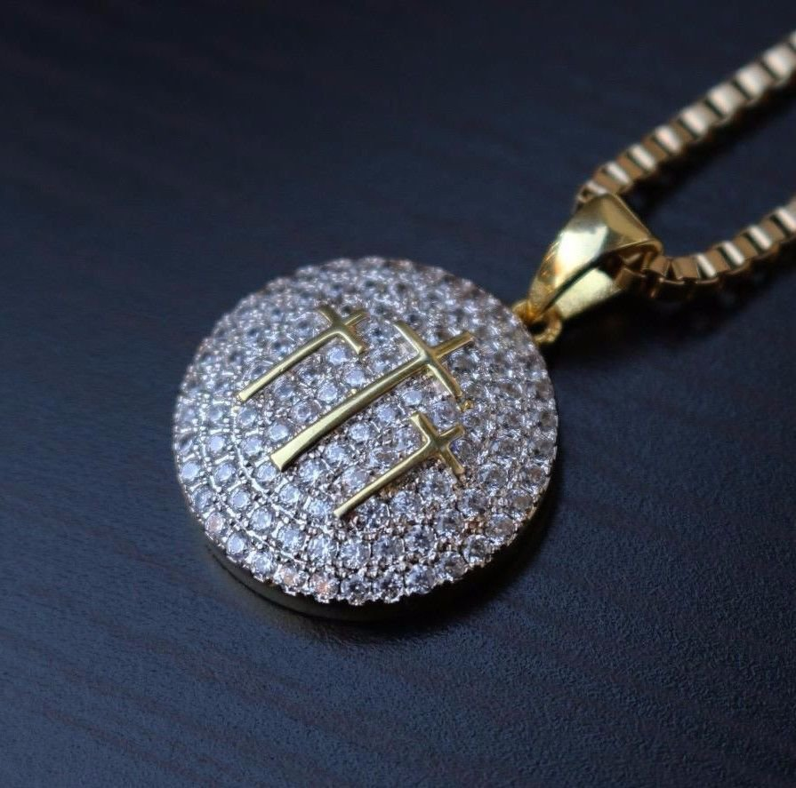 Mens Hip Hop Iced Gold Cross Pendant & Box Chain Chain