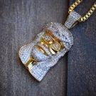 """Men's Hip Hop 14k Gold Plated Micro Jesus Piece 24"""" Box Chain Pendant Necklace"""