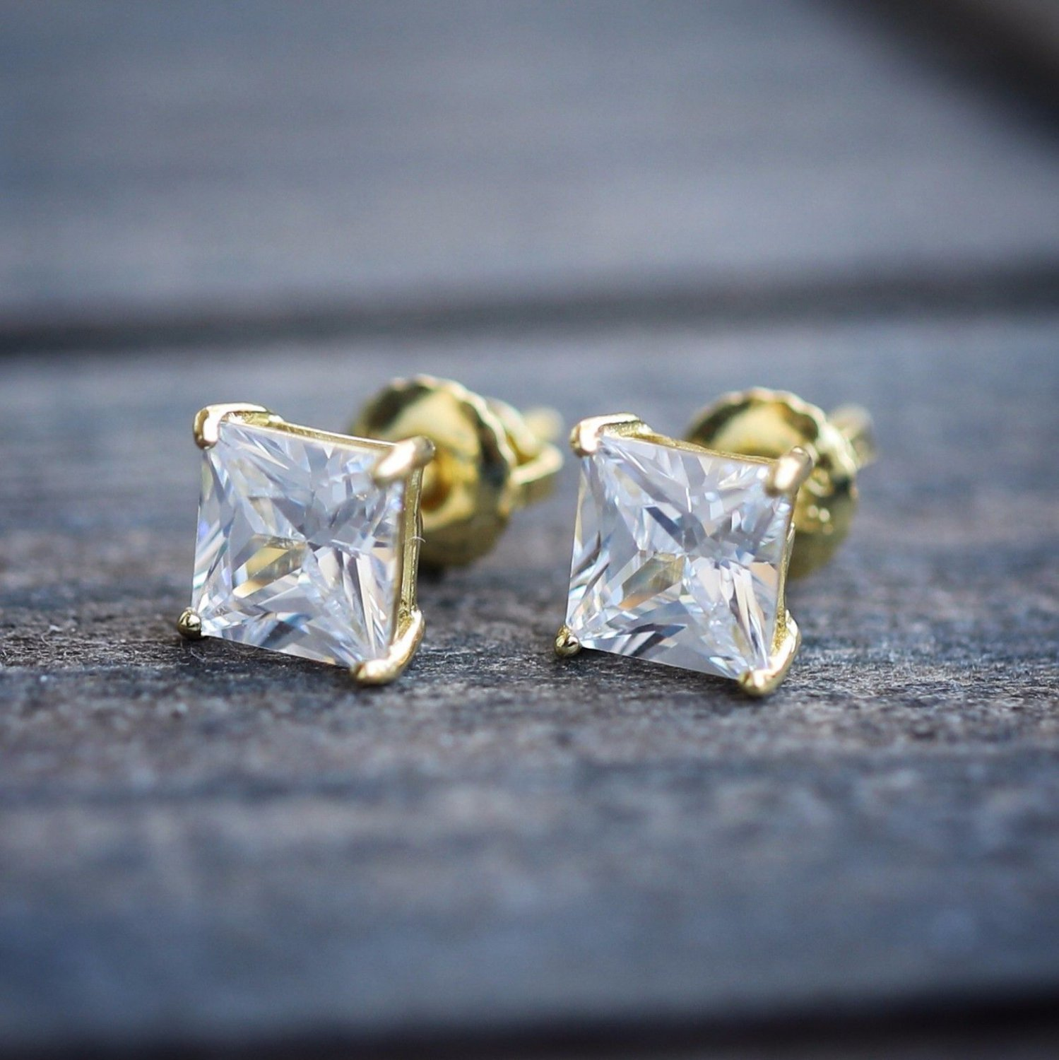 Mens Womens Gold Princess Cut Sterling Silver Screw On Screw Off Stud Earrings