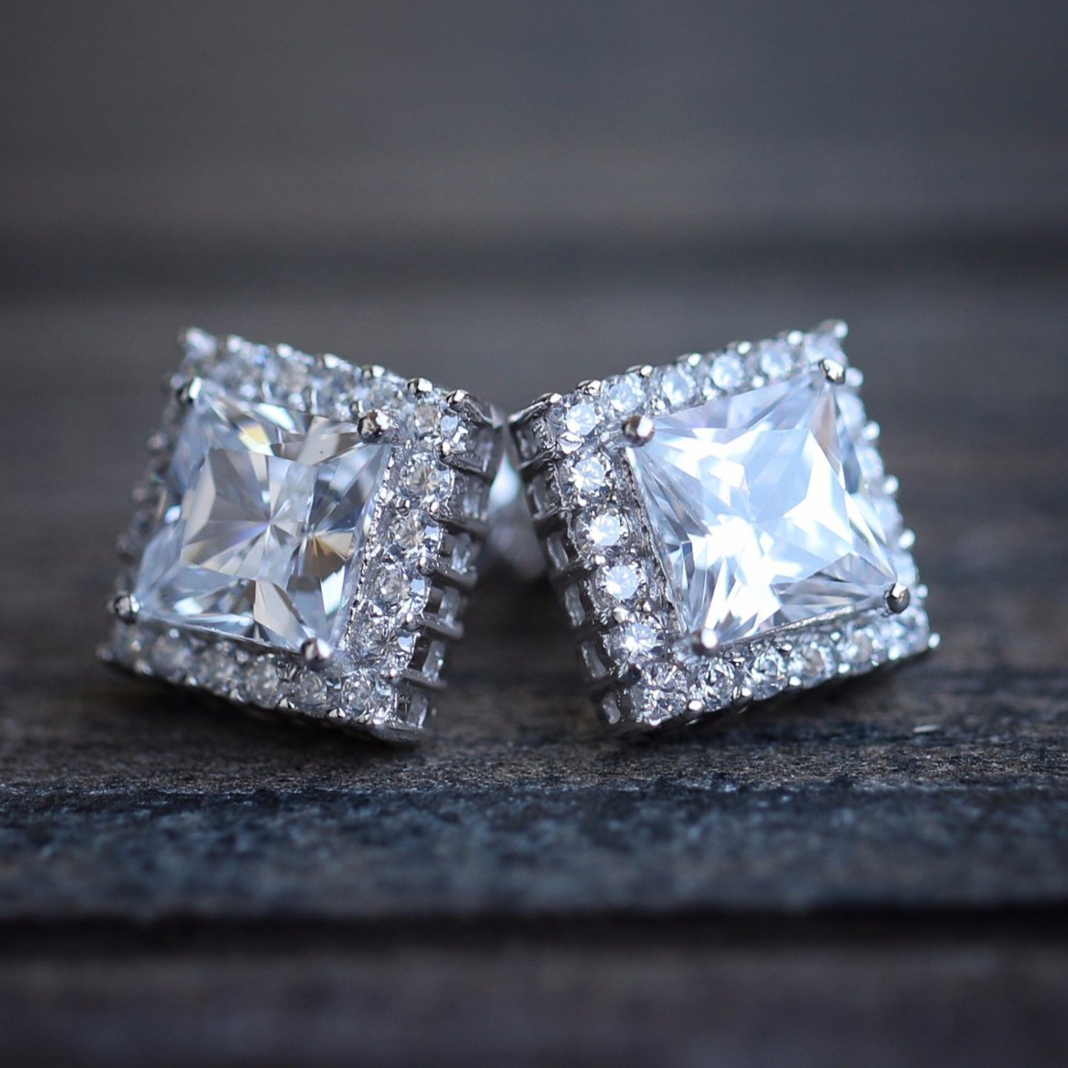 Silver Square Diamond Princess Cut Stud Earrings