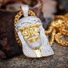 Mens Gold Jesus Piece Pendant And Chain Hip Hop Lab Simulated Diamonds