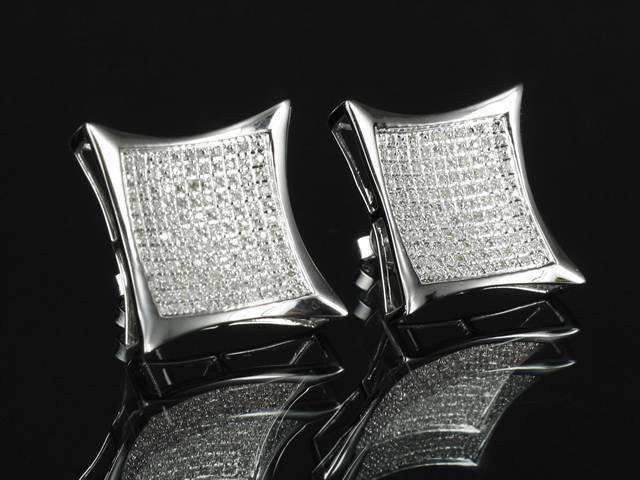 Simulated Lab Diamond Men Kite Shape Sterling Silver Screw On Stud Earring