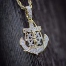 Lab Simulated Diamond Gold Jesus Anchor Pendant Charm Necklace