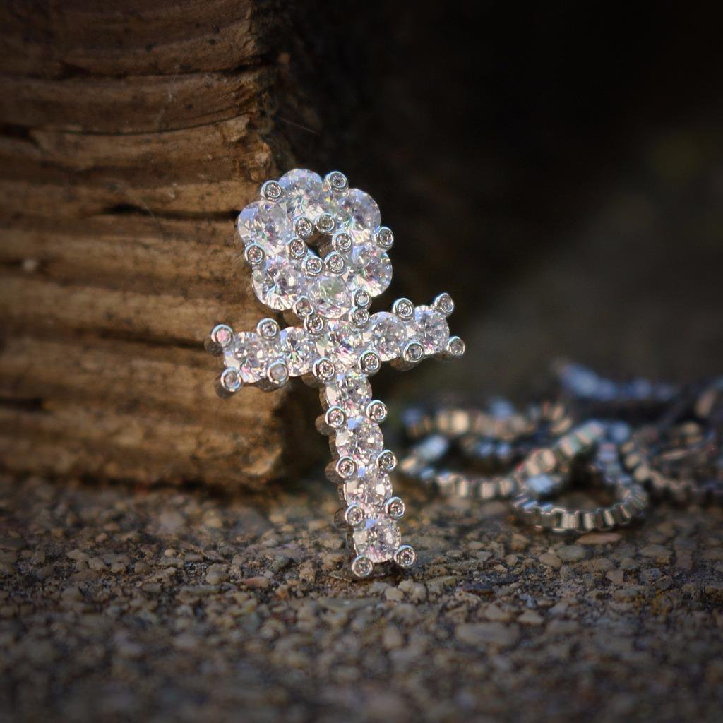 Mini Micro White Gold Plated Egyptian Ankh Charm Necklace