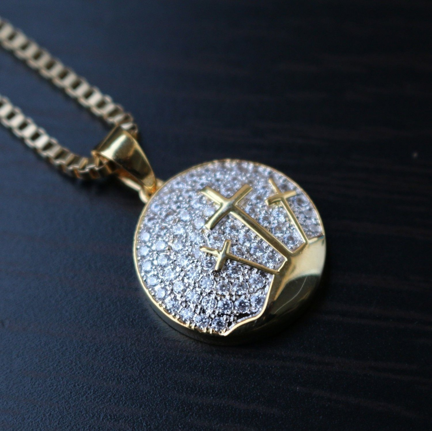 Hip Hop Gold Cross Pendant With 22 Inch Box Chain Necklace