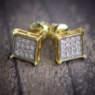 Mens Hip Hop Gold Stud Earrings Square Shaped 14k Gold And Rhodium