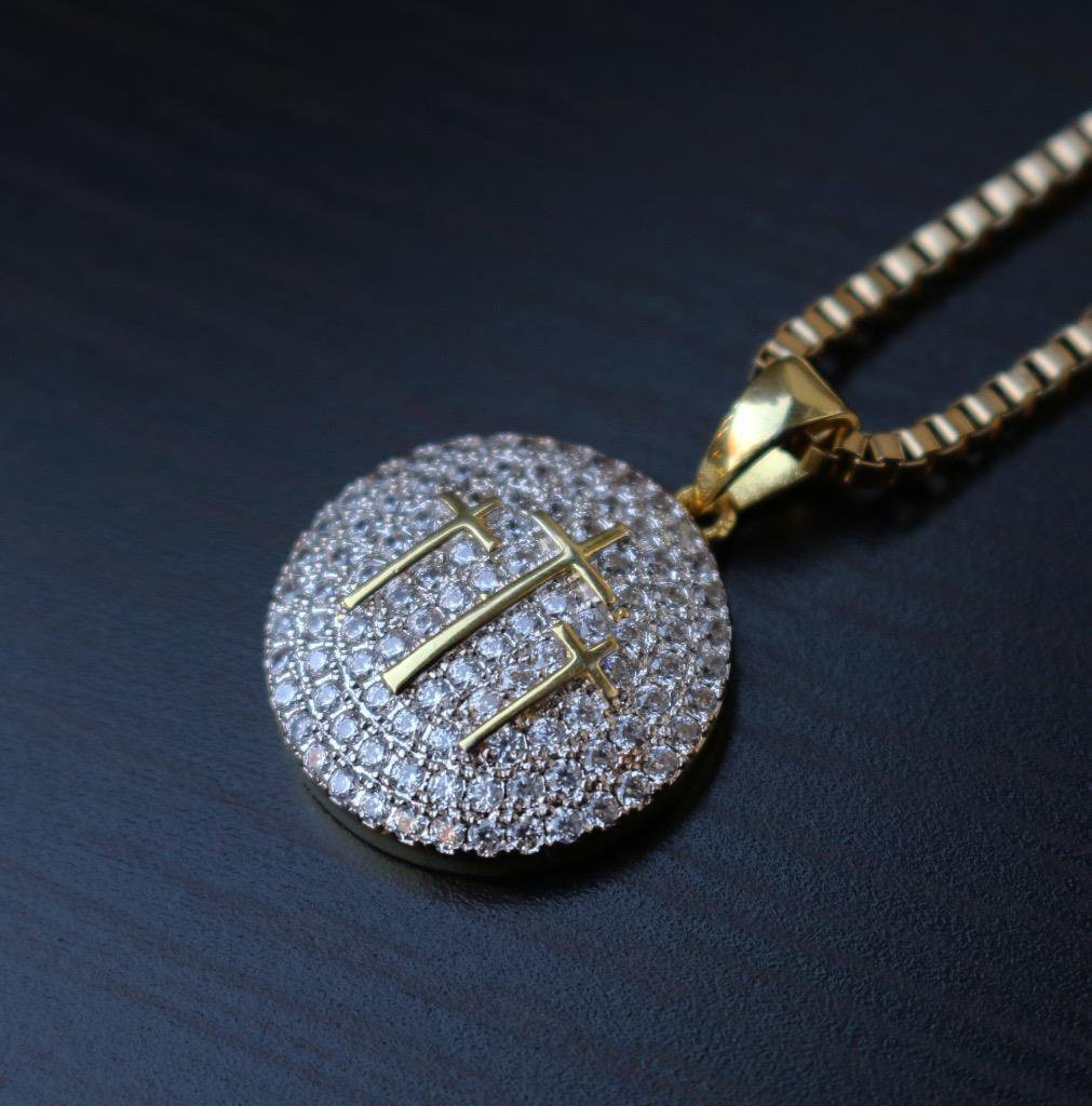 Mens Yellow Gold Cross Pendant Charm Chain Necklace