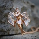 Diamond Cut Shape Rose Gold Angel Pendant Charm Necklace