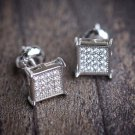 Mini 925 Sterling Silver Square Screw Back Mens Stud Earrings