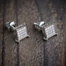 Mens Silver Hip Hop Screw Back Earrings Studs