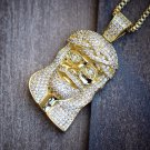 "Gold Jesus Piece Lab Simulated Diamonds With 24"" Box Chain Necklace Set Iced Out"