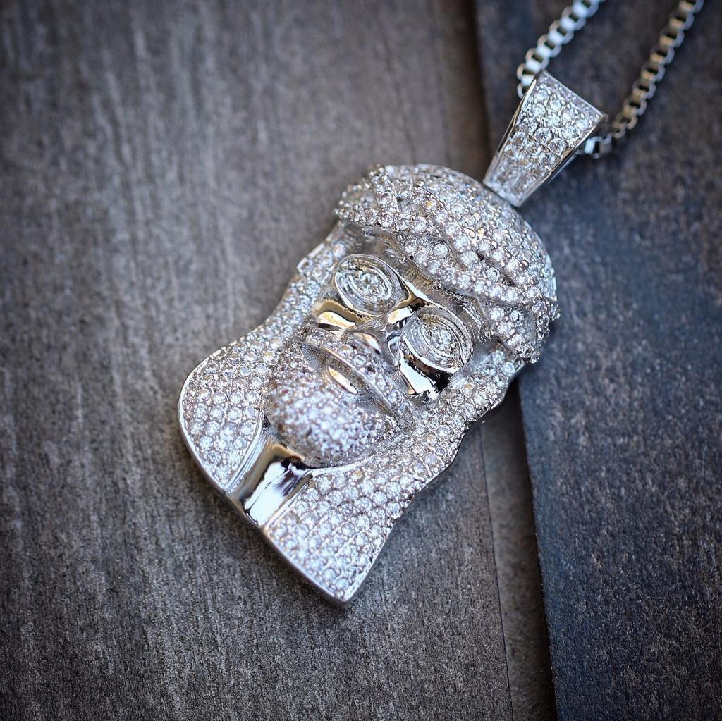 Mini White Gold Iced Out Jesus Piece Silver Hip Hop Necklace Set