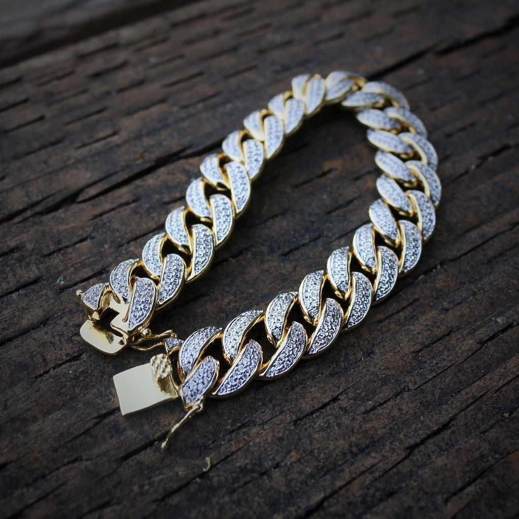 Iced Out Lab Diamond 18k Gold Cuban Link Bracelet