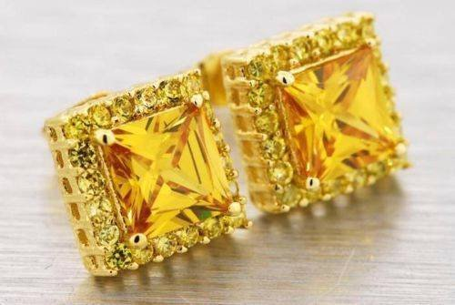 14K Gold Plated Canary Yellow Lab Diamond Square Princess Cut Stud Earrings