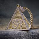14k Yellow Gold Egyptian Eye Pyramid Pendant Necklace