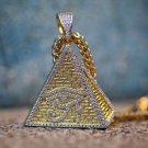 Men's Hip Hip Gold Egyptian Pyramid Eye Pendant With Franco Chain