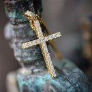 Lab Simulated Diamond Men's Women's Gold Cross Pendant Necklace Set