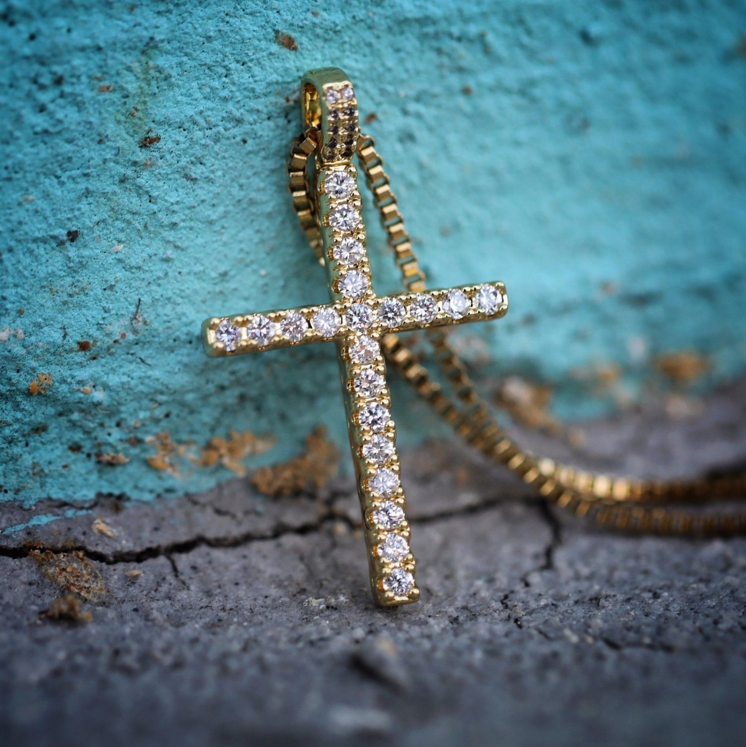 Gold Cz Men's High Quality Cross Pendant And Chain