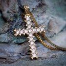 Men's Small Yellow Gold Lab Diamond Princess Cut Cross Necklace