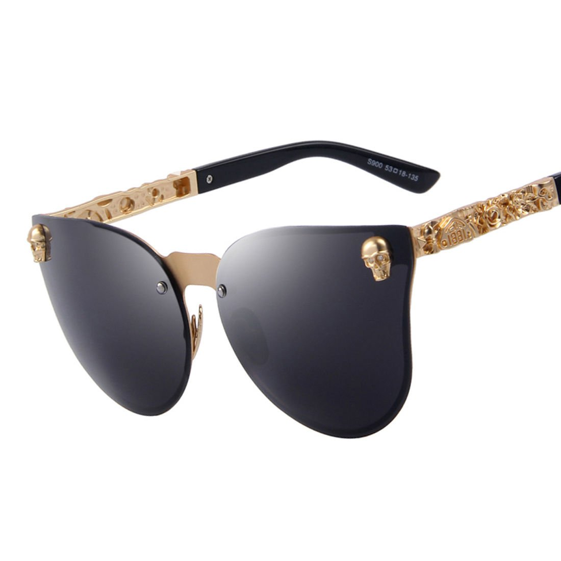 Mens Gold Frame Black Skull Sun Glasses