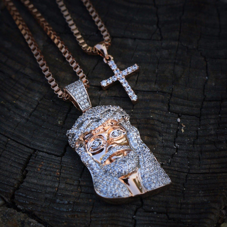 Mini Rose Gold Jesus Piece Cross Combo Necklace