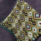 Green Aztec  baby receiving blanket lap blanket beach blanket oversized doubl
