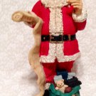 Santa Figurine Checking His List  Christmas Decoration Resin