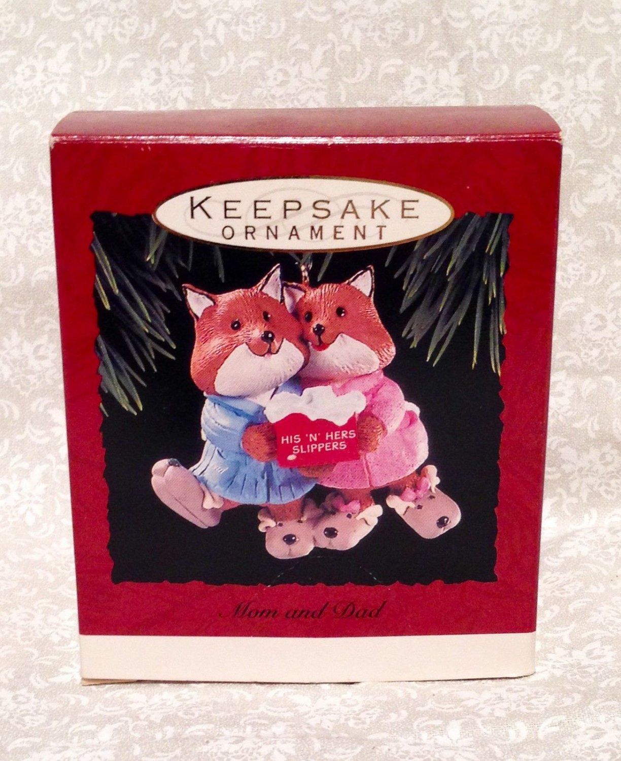 NEW BOX Hallmark Christmas Ornament MOM AND DAD Fox Couple His 'n Hers Slippers