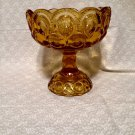 Vintage Moon & Stars Amber Glass Compote Candy Dish  1960s 1970s