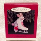 "Hallmark Ornament 1994 ""Friendly Push"" 3.5"" Ice Skate Mice Mouse IOB"