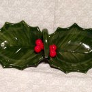 Holly Leaf Shaped Candy Nut Dish Handled Divided 2 Section Vintage  Japan