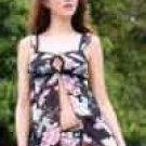 TWO PIECE FLORAL PRINT BABYDOLL W/ MATCHING G-STRING