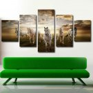 Horse Racing Poster Fine Art  Animal Painting Giclee 5 Piece Wall Art Canvas