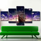 Seascapes Sunset Multi 5 Panel Canvas Wall Art  Sailing Boat/Ship Painting Print