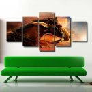 Horse Racing Oil Painting Animal Poster Prints on 5 Panel Canvas Wall Art Decor