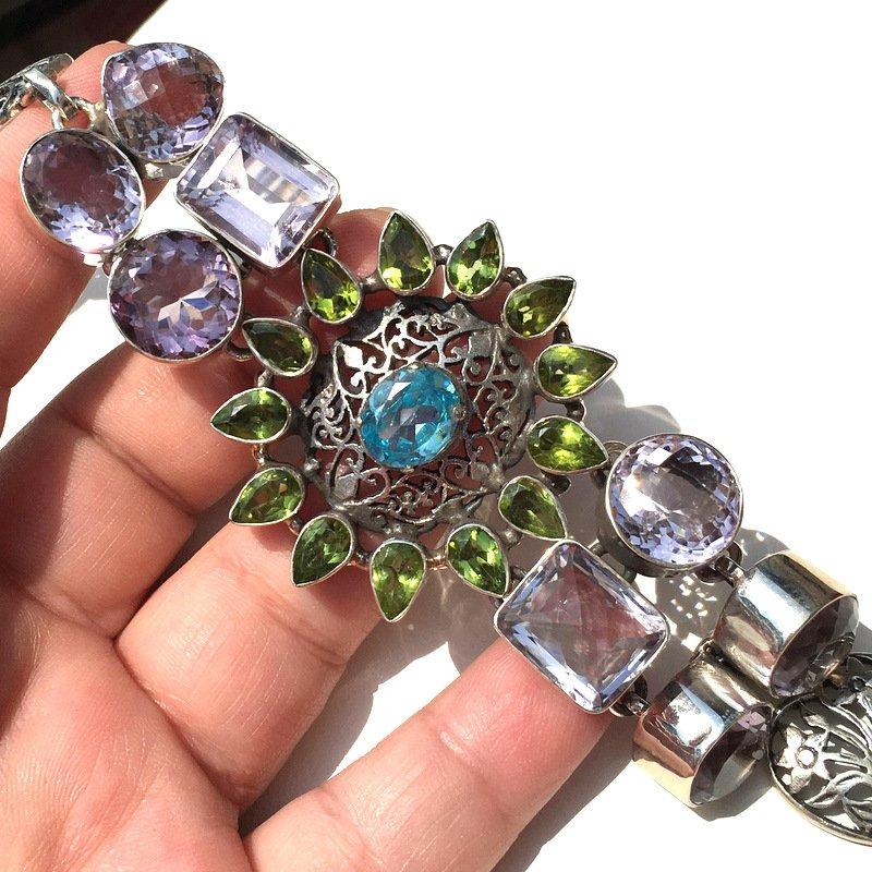 Statement Jewelry Large .925 Sterling Silver Gemstone Bracelet Amethyst Blue Topaz Peridot