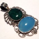 .925 silver Gemstone Jewelry Large Natural Emerald Blue Chalcedony Sterling Pendant