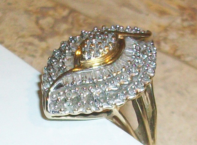 10kt Vintage Diamond Estate Ring 10k Yellow Gold Baguette Jewelry Size 7