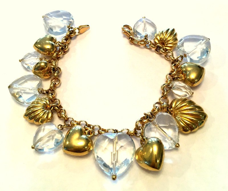 14k Gold & Quartz Heart Charm Bracelet Large Chunky 14kt Statement Jewelry