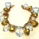 14k Gold & Quartz Heart Charm Bracelet Large Chunky 14kt Statement Jewelry